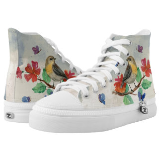 butterflies and bird high tops