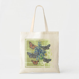 Butterflies and Bluebonnets on Green Square Tote Bag