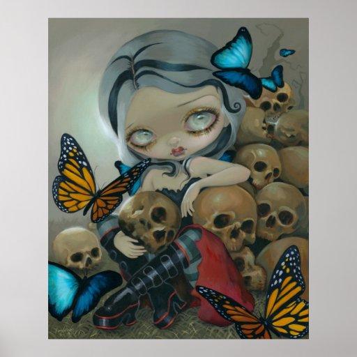 Butterflies and Bones ART PRINT big eye lowbrow