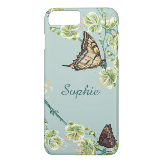 Butterflies and Cherry Blossoms Personalized iPhone 7 Plus Case