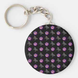 Butterflies and cosmos flowers key chain