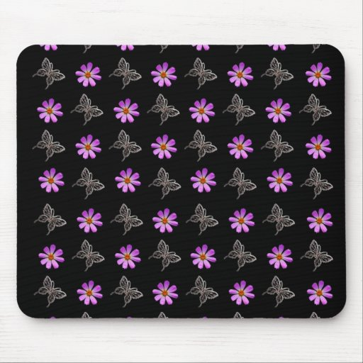 Butterflies and cosmos flowers mousepad