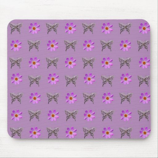 Butterflies and cosmos flowers mouse pads