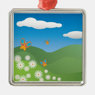 Butterflies and Daisies Landscape Christmas Ornament