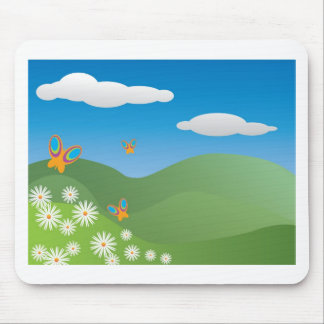 Butterflies and Daisies Landscape Mouse Mat