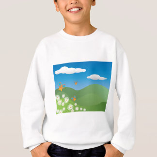 Butterflies and Daisies Landscape Sweatshirt