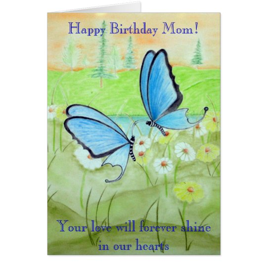 Butterflies and Daisys Happy Birthday Mum! Card