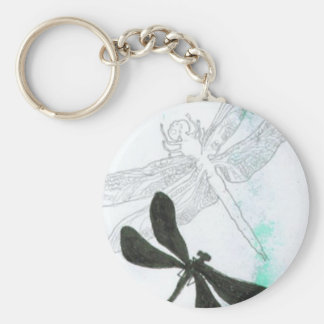 butterflies and dragonflies basic round button key ring
