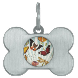 Butterflies And Dragonflies vintage Pet Name Tag