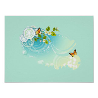 Butterflies and Flower Blossoms Poster