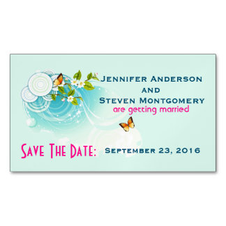 Butterflies and Flower Blossoms  Save The Date Magnetic Business Cards