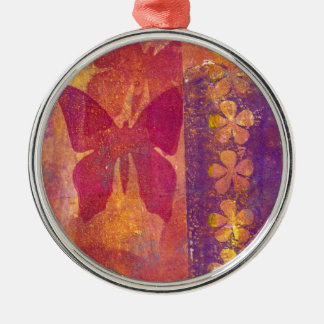 Butterflies and flowers christmas ornament