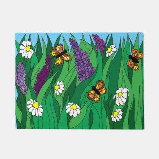 Butterflies And Flowers Door Mat