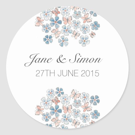 Butterflies and Flowers Floral Wedding Stickers