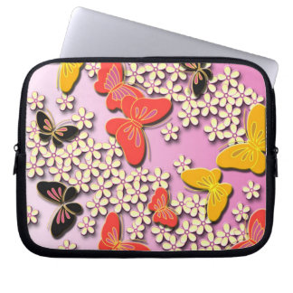 Butterflies and flowers japanese pattern laptop sleeve