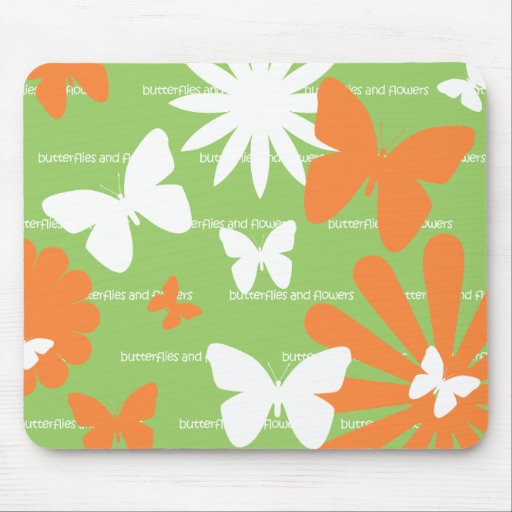 Butterflies and Flowers Mouse Mat