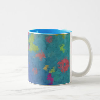 Butterflies and Flowers on Blue Background Two-Tone Coffee Mug