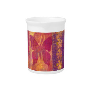 Butterflies and flowers pitcher