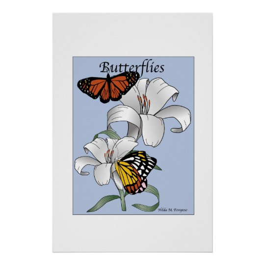 Butterflies and Flowers Poster