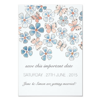 Butterflies and Flowers Save the Date Card 9 Cm X 13 Cm Invitation Card