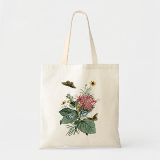 Butterflies and flowers vinatge illustration tote bag