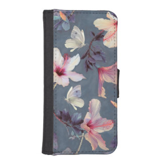 Butterflies and Hibiscus Flowers iPhone SE/5/5s Wallet Case