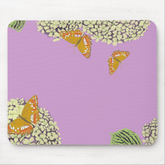Butterflies and Hydrangea Mouse Pad lavender