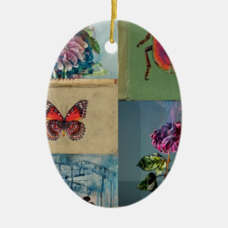 Butterflies and more ceramic oval decoration