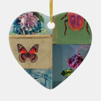 Butterflies and more ceramic heart decoration