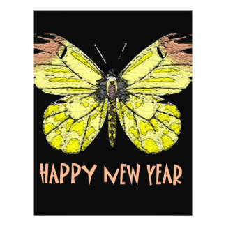 Butterflies  and Moths Happy New Year 21.5 Cm X 28 Cm Flyer