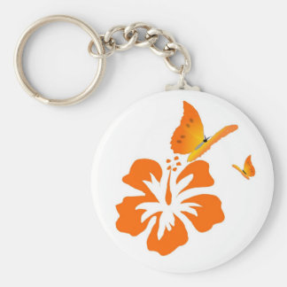 butterflies and orange hibiscus key ring