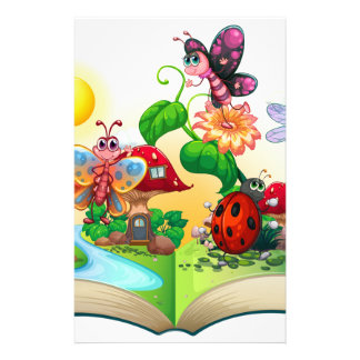 Butterflies and other insects in the book customized stationery