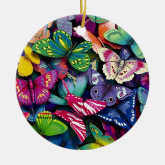 Butterflies and Peacock Round Ceramic Decoration