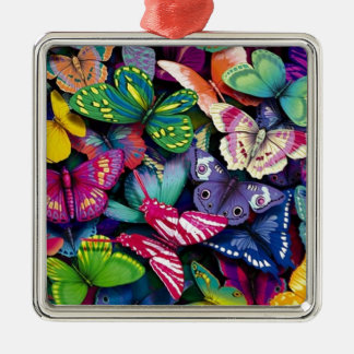 Butterflies and Peacock Silver-Colored Square Decoration