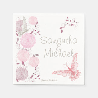 Butterflies and Pink Chrysanthemum Disposable Napkins