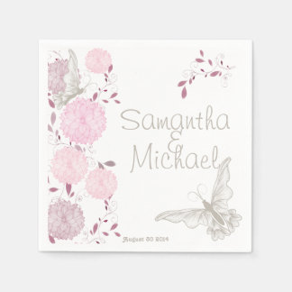 Butterflies and Pink Chrysanthemums Disposable Napkin
