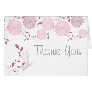 Butterflies and Pink Chrysanthemums Thank You Greeting Card
