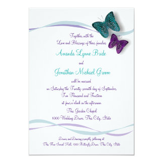 Butterflies and Ribbons Wedding 13 Cm X 18 Cm Invitation Card