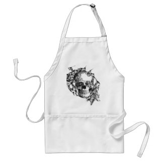 Butterflies and rose skull hand illustration. standard apron