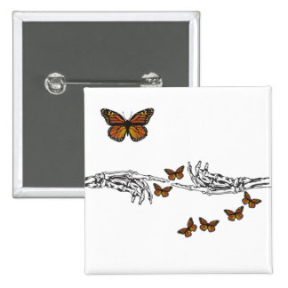 Butterflies and Skeletons 15 Cm Square Badge