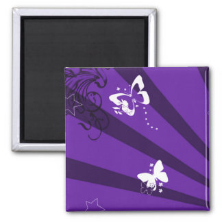 Butterflies and Stars 6 Square Magnet