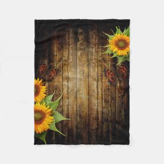 Butterflies and Sunflowers Small Fleece Blanket