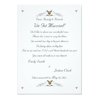 Butterflies and Swirls elopement 2 13 Cm X 18 Cm Invitation Card