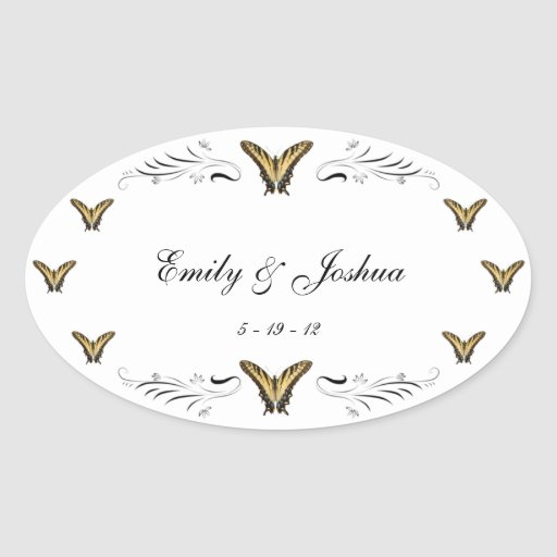 Butterflies and Swirls wedding stickers