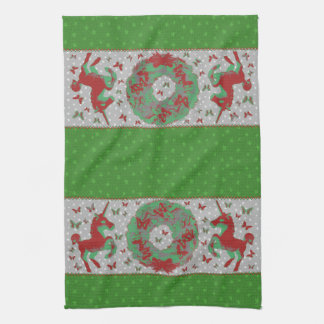 """Butterflies and Unicorns"" Xmas Hand Towel (Green)"