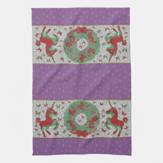 """Butterflies and Unicorns"" Xmas Hand Towel (Mauve)"