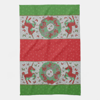 """Butterflies and Unicorns"" Xmas Hand Towel (Rd-Gr)"