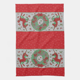 """""""Butterflies and Unicorns"""" Xmas Hand Towel (Red)"""