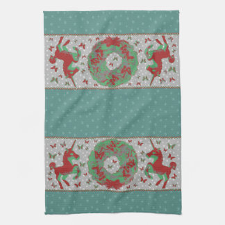 """Butterflies and Unicorns"" Xmas Hand Towel (Teal)"