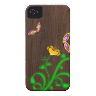 Butterflies and Wood Grain iPhone 4 4S Case Case-Mate iPhone 4 Case